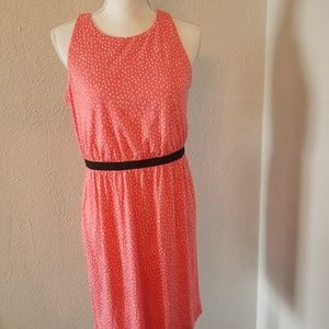 Ann Taylor Loft Small Dot Pink Dress Sz MP